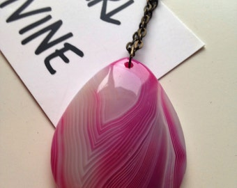 Large Pink Druzy Necklace with a Bronze Chain