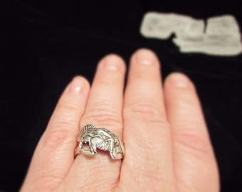 Sterling Silver Spoon Ring.Stunning Native American Indian Warrior. Highly detailed spoon ring.