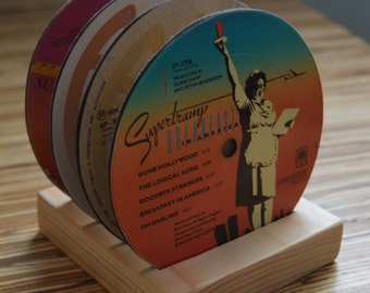 4 vintage supertramp record vinyl label drink coasters with wooden display base