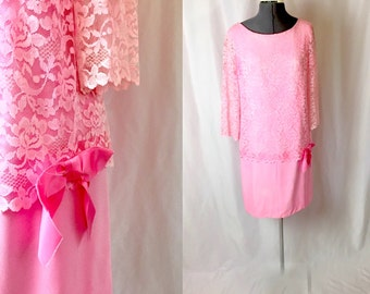 Shop on Vacation  Medium ** 1960s PINK LACE dropwaist dress ** vintage sixties bubblegum pink rayon dress