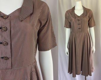 Medium ** 1950s GINGHAM red black taffeta circle skirt day dress ** vintage fifties checked plaid shirtwaist dress