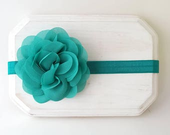 Vibrant Teal Headband - Jade Green Hair Bow - Teal Cake Smash - Mermaid First Birthday - Mermaid Cake Smash - Teal Flower Girl Headband