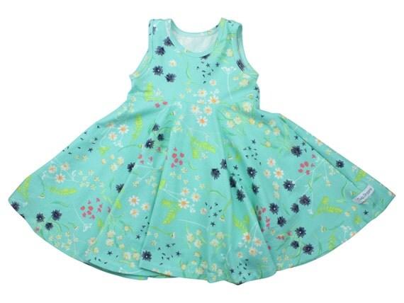 Aqua Blue Floral Twirl Dress Twirly Dress Summer Dress Toddler Dress Child Dress Baby Dress Girl Twirl Dress Blue Pink Blossom Swale Dress