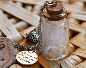 Necklace guardian angel white happiness in a glass bottle and silver glitter