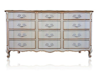 VVH Vintage Link Taylor 12 Drawer French Provincial Dresser French Country  Cottage Buffet TV Console