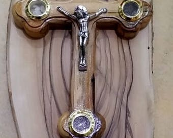 Olive wood cross on a olive wood palque hand made by the seller 14 cm,5.6 inch with Jerusalem stone window