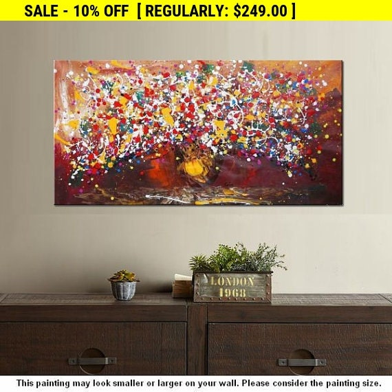 Extra Large Painting 24x48 Flower Oil Painting Canvas By