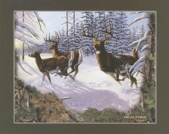 Deer Running in Snow Panel by Sykel Enterprises-1 yd