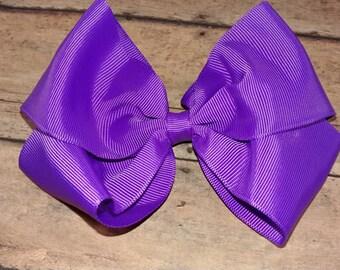 XL/Jumbo Solid Purple Hair Bow / Big Purple Hair Bow / Large Purple Bow/  Purple Bow /