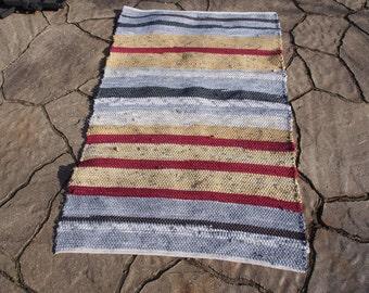 Great Handwoven Cotton Rag Rug, 26 X 40, Winter # 6