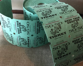 CLEARANCE 25 Large Green Double Raffle Tickets - destash lot