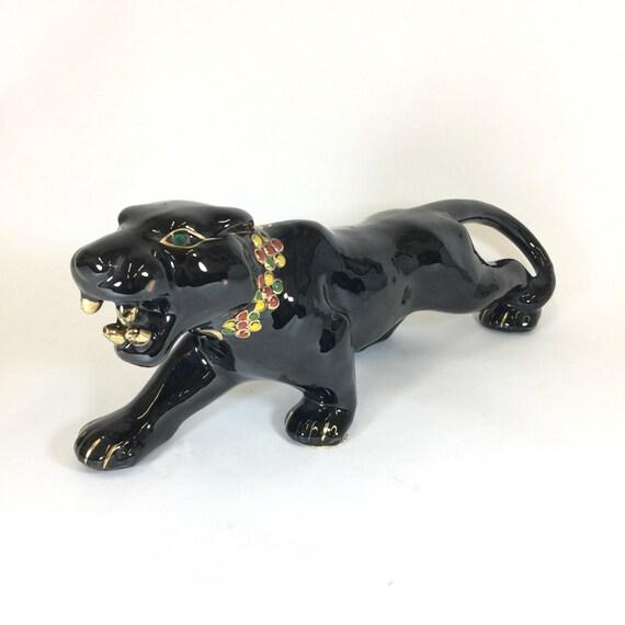 Black panther ceramic figurine embellished green eyes gold - Ceramic black panther statue ...