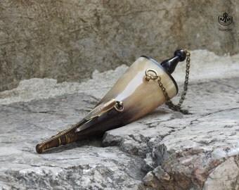 Turkish Hand Made Yellow Ox Horn Gun Powder Flask