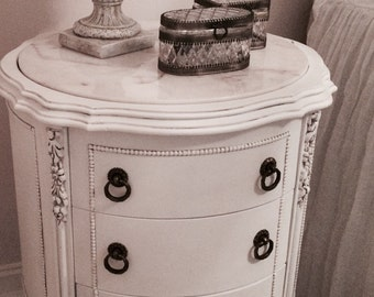 Reserved~Pair Antique French Marble Top Nightstands~ Rare, beautiful carvings!