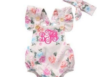 monogrammed flowery baby girl romper - white flowery summer romper - dainty flower romper