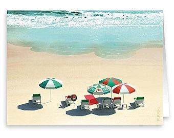 Beach Holiday Unbrellas Christmas Card - 18 Cards & Envelopes - 30031