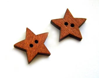 HALF PRICE 10 Small Wooden Star Buttons