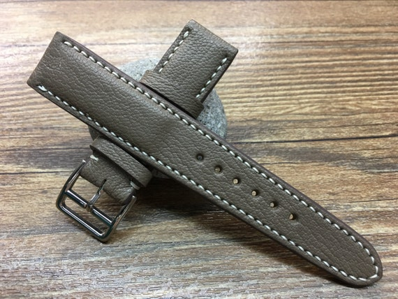 Handmade Leather watch strap | 20mm Elephant Grey watch band      | Leather watch band | Vintage leather watch strap for Rolex IWC