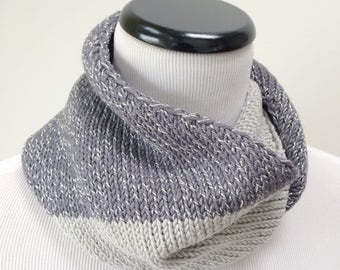Sparkly Silver Scarf, Gray Infinity Scarf, Wool Loop Scarf, Sparkly Gray Scarf, Gray Circle Scarf, Silver Sparkle Scarf, Gift for Her, SALE