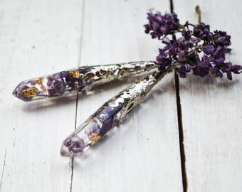 Real Flowers Earrings / Crystal Point Earrings / Lilac Earrings / Dangle Earrings / Elven  Jewelry