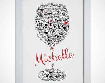 Word art etsy personalised wine glass picture word art print thank you birthday gift mum sister daughter nan friend pronofoot35fo Image collections