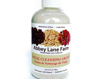 FACIAL CLEANSING GRAINS - Adzuki Beans & Rose Face Cleanser with Bentonite Clay, Rice Powder. Exfoliate, Face Scrub - Oily Skin, Vegan.