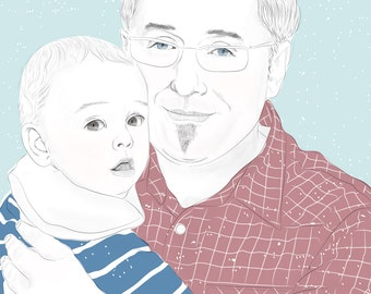personalized portrait - father & child - as a 'download'