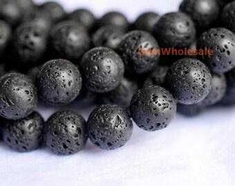 "15.5"" 8mm/10mm Black lava round beads , Black lava beads, semi-precious stone,black jewelry DIY beads, gemstone supply JsY"