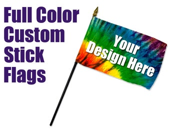Custom Handheld Stick Flags - Parades, Rallies, Parties, Concerts, Festivals, Vendors, Gifts, Weddings, Home Decor