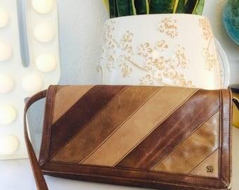 Vintage leren schoudertas| vintage leather shoulderbag