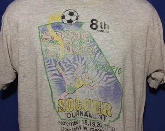 Vintage distressed paper thin georgia soccer tournament t shirt *M/L