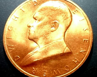 High Grade Dwight Eisenhower Presidential Copper United States President Token Medal Antique Vintage Authentic Coin 1.00