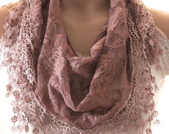 Light Brown lace scarf-  Summer scarf - woman scarf - scarves - gift scarf  - woman scarf - brown lace shawl - brown scarf - brown shawl