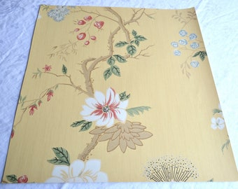 Wallpaper - Cole and Son  Sample Sheet  - 19 x 17  The India Paper -  Yellow Floral