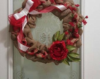 "Red and Tan Burlap Wreath 18"""