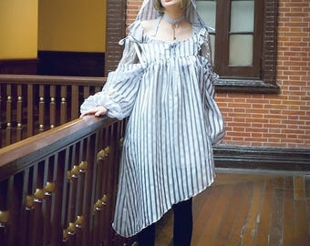 Gothic Stripe Oversize Off The Shoulder Overlay Dress Gown Overdress