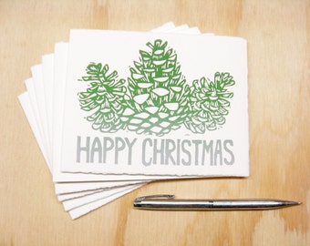 Green Pinecones Happy Christmas Cards - Set of 8 Block Printed Cards - READY TO SHIP
