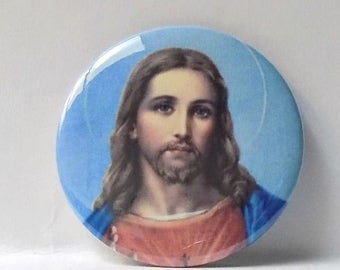 """2-1/4"""" Jesus Christ Son of God Religious Christian Round Pin Back Button, Magnet or Compact Mirror"""