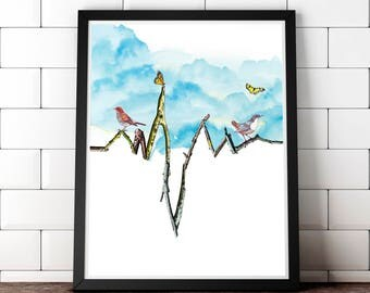 EKG anatomical heart art print gift for doctor nurse medical art heart beat art Physicians Assistant cardiology Heart attack transplant