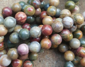 "Natural 8mm Round Beads Picasso Stone - 15.5"" Strand"