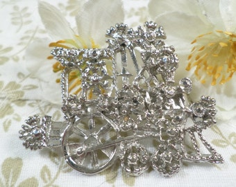 Beautiful Vintage Silver Tone Flower Garden Cart/Train Brooch  DL#1730