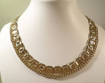 Beautiful Vintage Gold Tone Double Strand Chain Choker Necklace, PERFECT!  DL# 2541