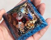 Orgone Pyramid - Moldavite - Handmade - Manifesting - Crystal Pyramid - Gold - Positive Energy - Quartz - EMF Protection - HoodxHippie
