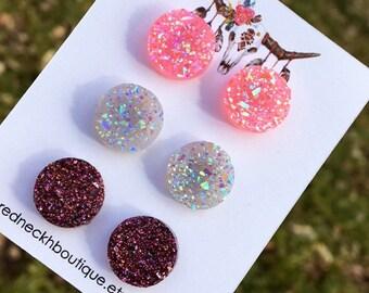 Set of three pink purple white crystal druzy crystals