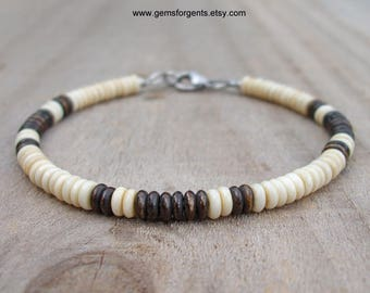 Natural Cream and Brown Bone, Surfer Beaded Bracelet, Beach Bracelet – SB7
