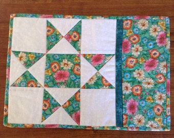 mug rug, candle mat, snack mat, placemat, mothers day, gift, patchwork, retreat gift, quilted gift, JADE OHIO STAR