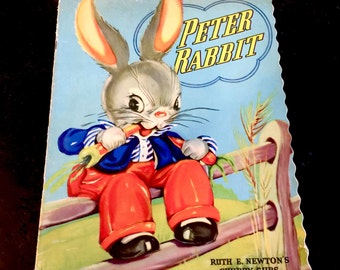Vintage Peter Rabbit,  Whitman Publishing Rare Peter Rabbit Large Linen Book, Ruth E. Newton, Chubby Cubs, Copyright 1947