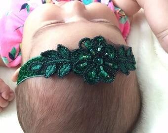 Emerald Green Beaded Lace Headband