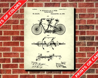 Vintage Tandem Bicycle Patent Print Bike Blueprint Cycling Patent Print Cyclist Gift Cycling Decor Vintage Cycling Poster