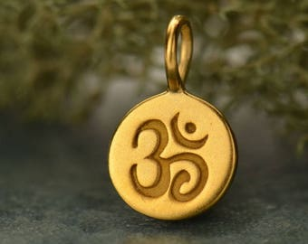 24K Gold Plated Sterling Silver Om Disc Charm, Or Sterling Silver Om Disc Charm